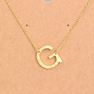 "Jewelry - Letter ""G"" Sideways Initial Dainty Gold Necklace"